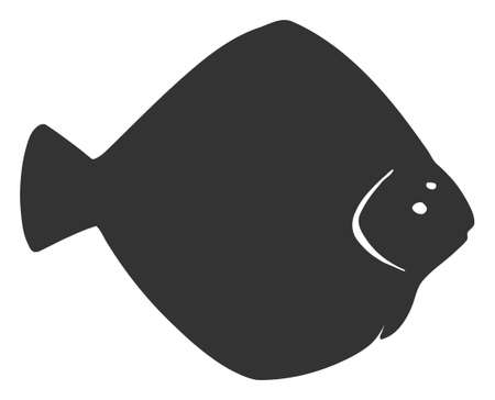 Vector flounder fish flat icon. Vector pictogram style is a flat symbol flounder fish icon on a white background. Иллюстрация