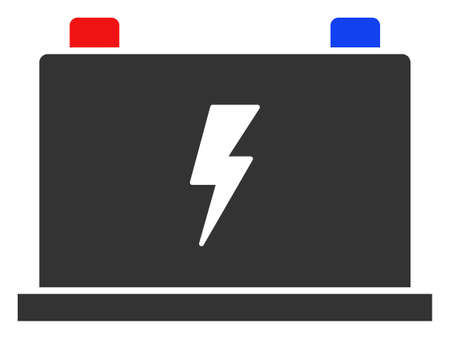 Vector electric battery flat icon. Vector pictograph style is a flat symbol electric battery icon on a white background.