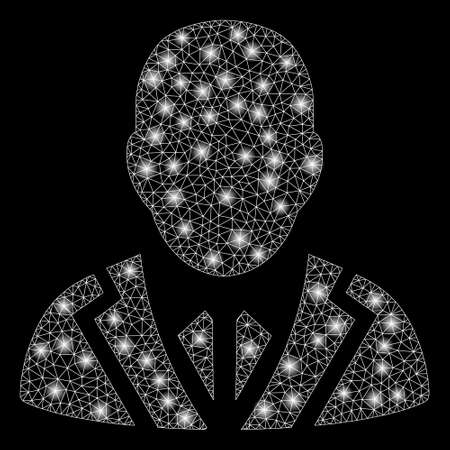 Flare mesh valet with glare effect. Abstract illuminated model of valet icon. Shiny wire frame polygonal mesh valet. Vector abstraction on a black background.