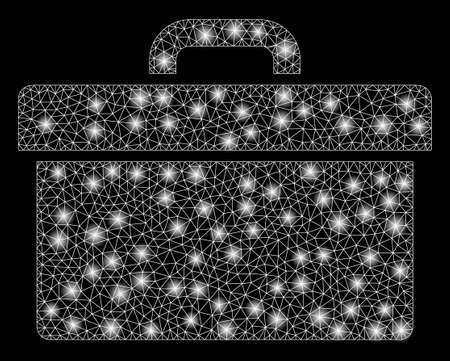 Glowing mesh toolbox with sparkle effect. Abstract illuminated model of toolbox icon. Shiny wire carcass polygonal mesh toolbox. Vector abstraction on a black background.