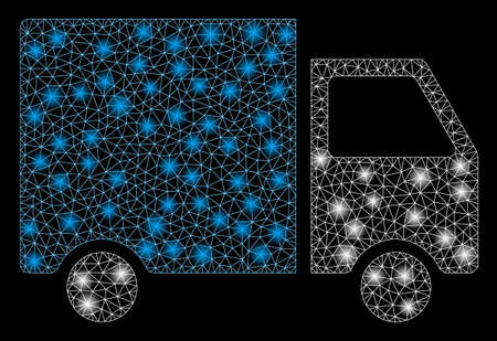 Flare mesh van with glow effect. Abstract illuminated model of van icon. Shiny wire carcass triangular mesh van. Vector abstraction on a black background. Banque d'images - 130860804
