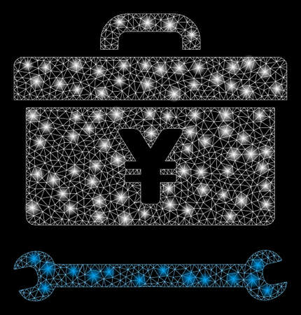Glowing mesh yen toolbox with sparkle effect. Abstract illuminated model of yen toolbox icon. Shiny wire carcass triangular mesh yen toolbox. Vector abstraction on a black background. 向量圖像