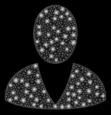 Glowing mesh user with glow effect. Abstract illuminated model of user icon. Shiny wire frame polygonal mesh user. Vector abstraction on a black background. Иллюстрация
