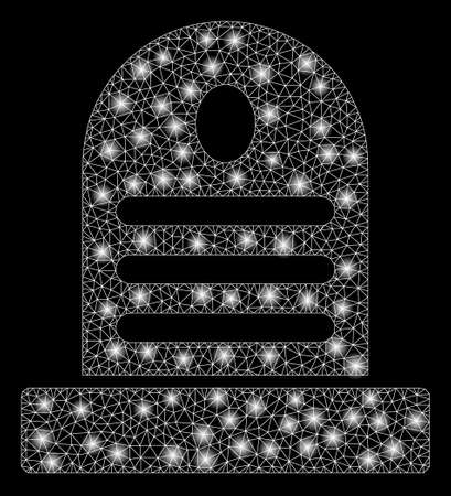 Glowing mesh tombstone with sparkle effect. Abstract illuminated model of tombstone icon. Shiny wire frame triangular mesh tombstone. Vector abstraction on a black background.