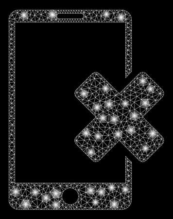 Glowing mesh wrong smartphone with sparkle effect. Abstract illuminated model of wrong smartphone icon. Shiny wire frame triangular mesh wrong smartphone. Vector abstraction on a black background. Ilustração