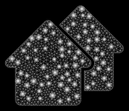 Flare mesh village with glare effect. Abstract illuminated model of village icon. Shiny wire frame triangular mesh village. Vector abstraction on a black background. Ilustração