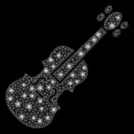 Glowing mesh violin with glitter effect. Abstract illuminated model of violin icon. Shiny wire frame triangular mesh violin. Vector abstraction on a black background. Ilustrace