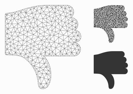 Mesh thumb down model with triangle mosaic icon. Wire carcass triangular network of thumb down. Vector mosaic of triangle parts in variable sizes, and color tints. Abstract flat mesh thumb down, Ilustração