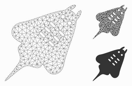 Mesh stingray fish model with triangle mosaic icon. Wire frame polygonal mesh of stingray fish. Vector mosaic of triangles in various sizes, and color tints. Abstract flat mesh stingray fish, Illusztráció