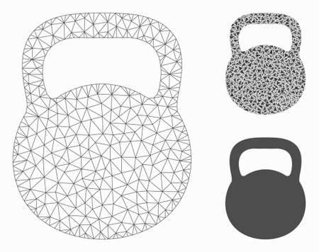 Mesh weight iron model with triangle mosaic icon. Wire frame polygonal network of weight iron. Vector mosaic of triangles in variable sizes, and color tints. Abstract flat mesh weight iron,
