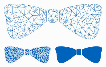 Mesh bow tie model with triangle mosaic icon. Wire frame triangular mesh of bow tie. Vector mosaic of triangles in different sizes, and color hues. Abstract 2d mesh bow tie, Иллюстрация