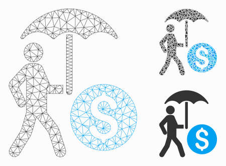 Mesh walking banker with umbrella model with triangle mosaic icon. Wire carcass triangular mesh of walking banker with umbrella. Vector mosaic of triangle parts in different sizes, and color hues. Ilustração