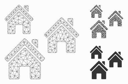 Mesh village buildings model with triangle mosaic icon. Wire frame triangular mesh of village buildings. Vector mosaic of triangles in variable sizes, and color hues.