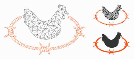 Mesh chicken farm model with triangle mosaic icon. Wire frame polygonal mesh of chicken farm. Vector mosaic of triangle parts in different sizes, and color tints. Abstract 2d mesh chicken farm, Illustration