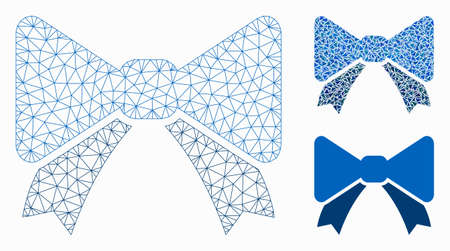 Mesh bow tie model with triangle mosaic icon. Wire frame polygonal mesh of bow tie. Vector mosaic of triangle parts in different sizes, and color tints. Abstract flat mesh bow tie, Иллюстрация