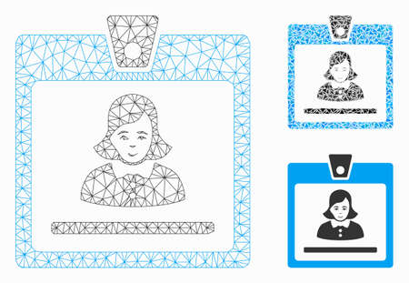 Mesh woman badge model with triangle mosaic icon. Wire frame polygonal mesh of woman badge. Vector mosaic of triangle elements in different sizes, and color tinges. Abstract flat mesh woman badge, Иллюстрация