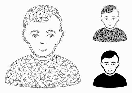 Mesh user model with triangle mosaic icon. Wire frame polygonal network of user. Vector mosaic of triangle elements in different sizes, and color tinges. Abstract 2d mesh user,