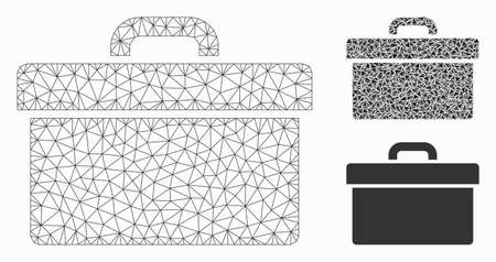 Mesh toolbox model with triangle mosaic icon. Wire frame polygonal mesh of toolbox. Vector mosaic of triangle elements in different sizes, and color hues. Abstract 2d mesh toolbox,