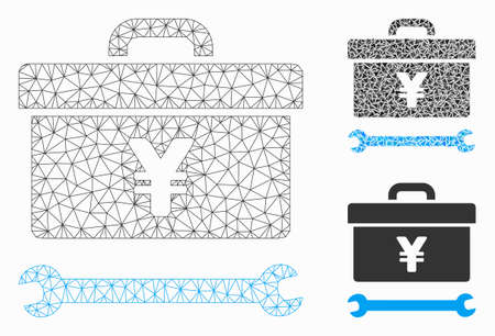 Mesh yen toolbox model with triangle mosaic icon. Wire carcass polygonal mesh of yen toolbox. Vector mosaic of triangle elements in various sizes, and color tints. Abstract flat mesh yen toolbox,
