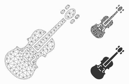 Mesh violin model with triangle mosaic icon. Wire frame polygonal mesh of violin. Vector mosaic of triangle parts in variable sizes, and color tints. Abstract flat mesh violin,