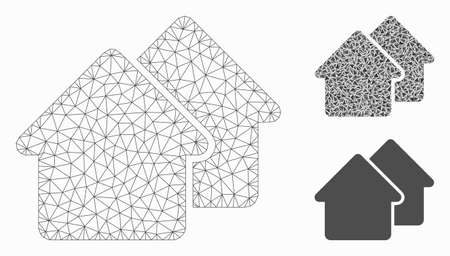 Mesh village model with triangle mosaic icon. Wire frame polygonal network of village. Vector composition of triangle parts in variable sizes, and color hues. Abstract 2d mesh village,