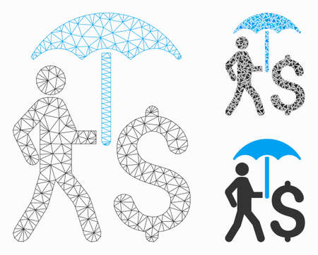 Mesh walking businessman with umbrella model with triangle mosaic icon. Wire frame triangular network of walking businessman with umbrella. Vector mosaic of triangle parts in various sizes,