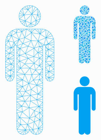 Mesh man model with triangle mosaic icon. Wire frame triangular mesh of man. Vector mosaic of triangle elements in different sizes, and color shades. Abstract flat mesh man,