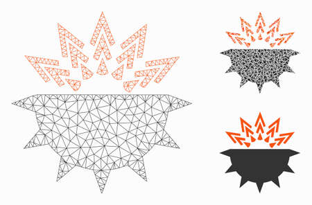 Mesh viral structure model with triangle mosaic icon. Wire frame triangular mesh of viral structure. Vector collage of triangle elements in variable sizes, and color shades.