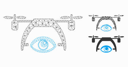 Mesh video spy drone model with triangle mosaic icon. Wire frame triangular mesh of video spy drone. Vector mosaic of triangles in variable sizes, and color tinges. Abstract 2d mesh video spy drone,