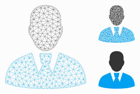 Mesh manager model with triangle mosaic icon. Wire carcass triangular mesh of manager. Vector mosaic of triangle parts in variable sizes, and color tints. Abstract flat mesh manager, Иллюстрация