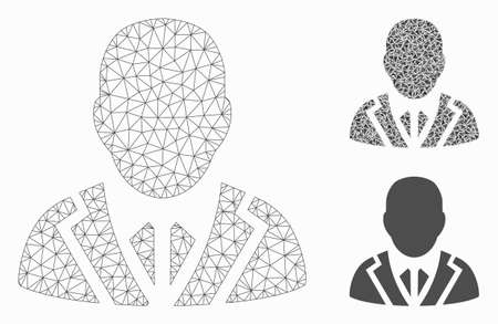 Mesh valet model with triangle mosaic icon. Wire carcass polygonal mesh of valet. Vector collage of triangle elements in variable sizes, and color tints. Abstract 2d mesh valet,