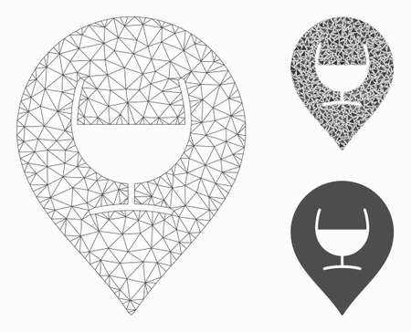 Mesh wine glass marker model with triangle mosaic icon. Wire carcass polygonal mesh of wine glass marker. Vector collage of triangle elements in various sizes, and color shades.
