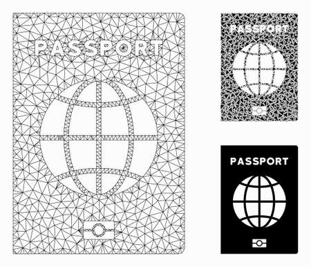 Mesh world passport model with triangle mosaic icon. Wire carcass polygonal mesh of world passport. Vector mosaic of triangle elements in various sizes, and color tinges.