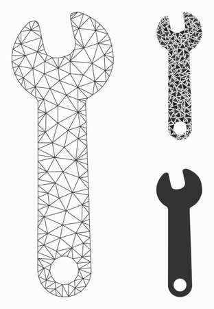 Mesh wrench model with triangle mosaic icon. Wire carcass polygonal network of wrench. Vector mosaic of triangle parts in different sizes, and color hues. Abstract 2d mesh wrench, Illustration