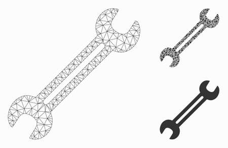 Mesh wrench model with triangle mosaic icon. Wire carcass polygonal mesh of wrench. Vector mosaic of triangle elements in different sizes, and color tints. Abstract 2d mesh wrench,