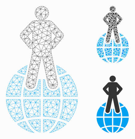 Mesh world commander model with triangle mosaic icon. Wire carcass triangular network of world commander. Vector mosaic of triangle parts in various sizes, and color tinges.