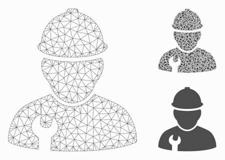 Mesh worker model with triangle mosaic icon. Wire carcass triangular mesh of worker. Vector mosaic of triangles in different sizes, and color tinges. Abstract 2d mesh worker,