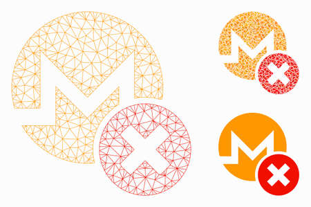 Mesh wrong Monero model with triangle mosaic icon. Wire frame triangular mesh of wrong Monero. Vector composition of triangle elements in various sizes, and color tones. Abstract 2d mesh wrong Monero, Ilustração