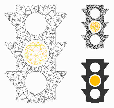 Mesh yellow traffic lights model with triangle mosaic icon. Wire frame triangular mesh of yellow traffic lights. Vector mosaic of triangle elements in different sizes, and color tones.  イラスト・ベクター素材