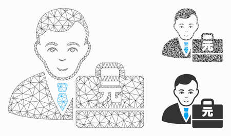 Mesh Yuan Renminbi accounter model with triangle mosaic icon. Wire carcass polygonal mesh of Yuan Renminbi accounter. Vector mosaic of triangle elements in different sizes, and color tones.