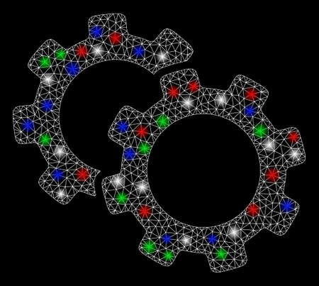 Bright mesh gears with glow effect. White wire frame triangular mesh in vector format on a black background. Abstract 2d mesh designed with triangular lines, spheric points, colorful flash spots.