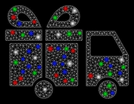 Bright mesh gift delivery van with lightspot effect. White wire frame triangular mesh in vector format on a black background. Abstract 2d mesh designed with triangular lines, small circle,