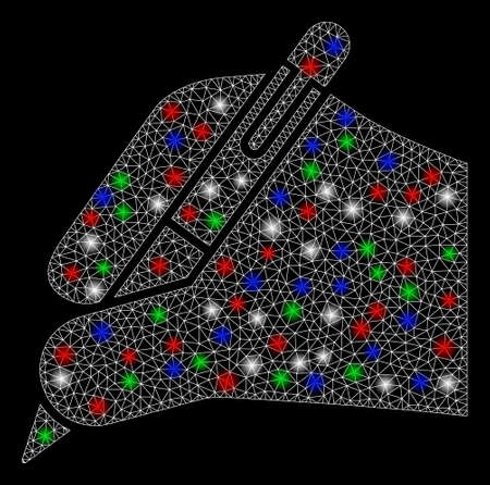 Bright mesh subscribe hand with glare effect. White wire carcass polygonal mesh in vector format on a black background. Abstract 2d mesh built from triangular lines, small circle, colored glare spots.  イラスト・ベクター素材