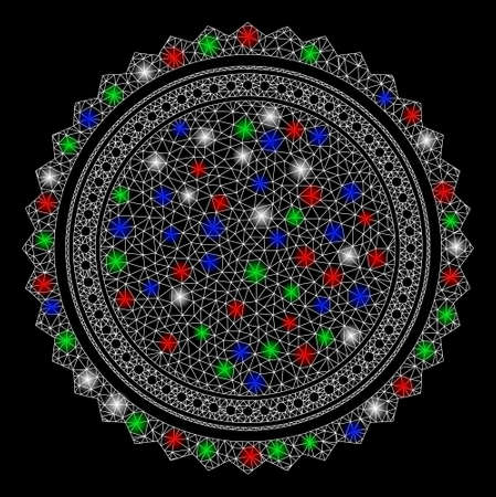 Bright mesh round rosette seal with glow effect. White wire frame triangular network in vector format on a black background. Abstract 2d mesh built from triangular lines, points, colorful flare spots.