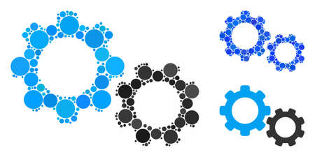Gears composition for gears icon of filled circles in different sizes and color tones. Vector small circles are combined into blue composition. Dotted gears icon in usual and blue versions.