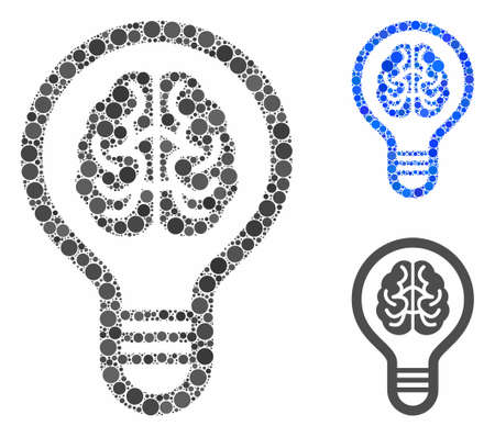 Brain bulb mosaic for brain bulb icon of circle elements in various sizes and color tinges. Vector circle elements are organized into blue collage. Dotted brain bulb icon in usual and blue versions. Illustration