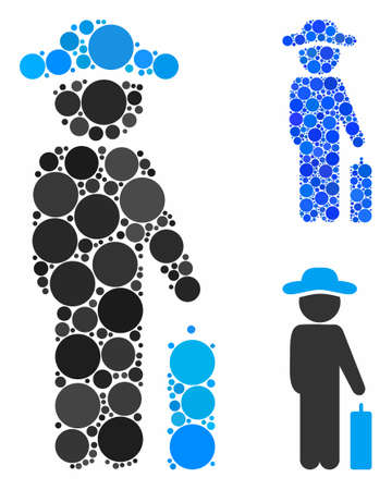 Gentleman baggage mosaic for gentleman baggage icon of round dots in various sizes and color tinges. Vector round dots are organized into blue illustration.