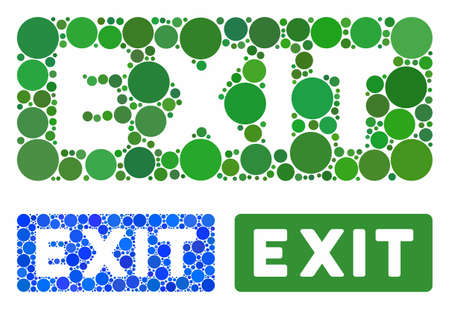Exit label mosaic for exit label icon of circle elements in different sizes and color hues. Vector circle elements are combined into blue illustration.  イラスト・ベクター素材