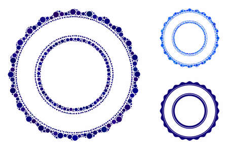 Double rosette circular frame mosaic for double rosette circular frame icon of small circles in variable sizes and color tinges. Vector filled circles are composed into blue mosaic.