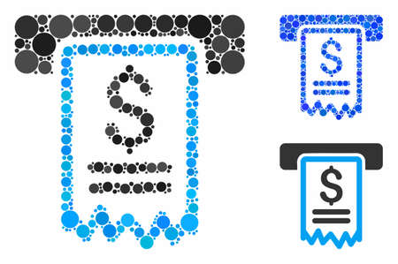 Cheque payment composition for cheque payment icon of spheric dots in different sizes and shades. Vector dots are composed into blue composition. Dotted cheque payment icon in usual and blue versions. Illustration